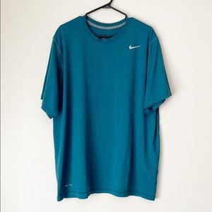 NIKE DRI-FIT BLUE SHORT SLEEVE WORKOUT TOP